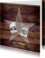 Kerst foto kaart hout met een ster van spijkers en touw