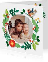 Kerst fotokaart met roodborstje