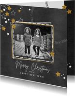 Kerst hippe grijze kaart met witte en gouden sterren en foto