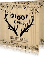 Kerst hippe kerstkaart hout, rendier gewei en sterretjes
