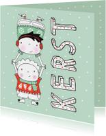 Kerst kinderen kersttrui oorwarmers sjaal mint - MW
