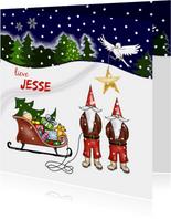 Kerst - kinderkerstmannetjes met slee