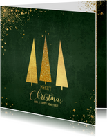 Kerst klassieke donker groene kaart met 3 kerstbomen