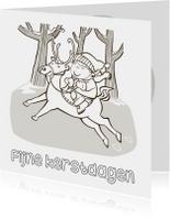 Kleurplaat kaarten - Kerst kleurplaat kaart eland-IR