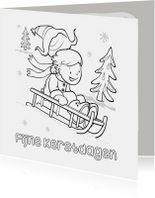 Kleurplaat kaarten - Kerst kleurplaat kaart-IR