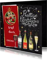 Kerst menukaart diner wijn