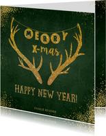Kerstkaarten - Kerst moderne groene kerstkaart sterren rendier goud glitter