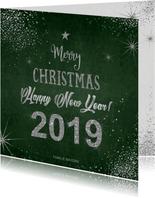 Kerstkaarten - Kerst moderne kerstkaart met zilverkleurige typografie 2019