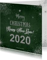 Kerst moderne kerstkaart met zilverkleurige typografie