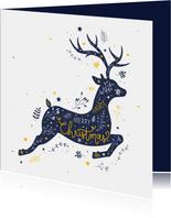 Kerst - Rendier met botanische illustraties