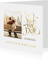 Kerst Save the date kaart goud