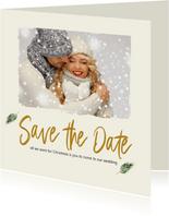 Kerst Save-the-Date kaart met foto en takjes
