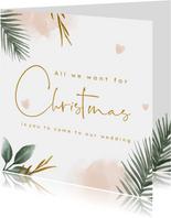 Kerst Save the Date kaart met groene takjes en waterverf