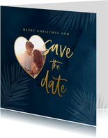 Kerst save the datekaart met foto en kersttakjes
