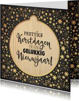 Kerst sfeervolle kaart krijtbord met kerstbal hout look