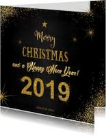 Kerstkaarten - Kerst sfeervolle zwarte kaart typografische gouden tekst