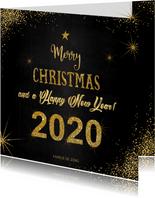 Kerst sfeervolle  kaart met typografische gouden tekst 2020