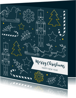 Kerst - Silhouetten wit en goudlook
