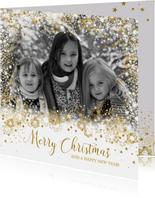 Kerst stijlvol fotokader sterren, sneeuw en twinkelingen