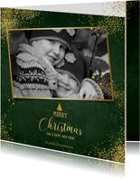 Kerst stijlvolle donker groene foto kaart gouden sterretjes