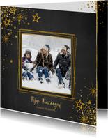 Kerst stijlvolle donkere foto kaart gouden sterren