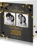 Kerst stijlvolle foto kaart krijtbord en sterren 2020
