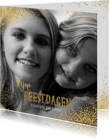 Kerst stijlvolle foto kaart met gouden sterretjes