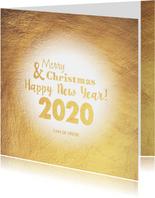 Kerst stijlvolle goudkleurige kerstkaart