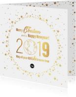 Kerst stijlvolle kaart goud wereldbol met sterren 2019