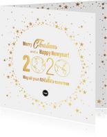 Kerst stijlvolle kaart goud wereldbol met sterren 2020