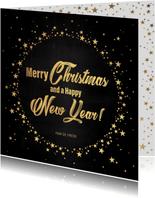 Kerst stijlvolle zwarte kaart goudkleurige tekst en sterren