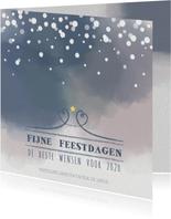Kerst trendy kaart met aquarel print en sneeuwvlokken