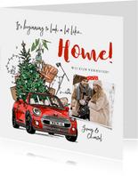 Kerst verhuiskaart auto kerstboom verhuisdozen meubels foto