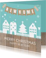 Kerst-verhuiskaart huisjes slinger houtlook