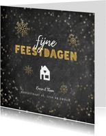 Kerst verhuiskaart krijtbord sterren sneeuwvlokken en huis