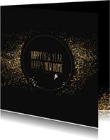 Kerst verhuiskaart met goudlook confetti en dust
