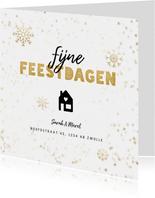 Kerst verhuiskaart sneeuwvlokken, huisje, adres wijziging