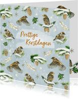 Kerst vogeltjes in de sneeuw