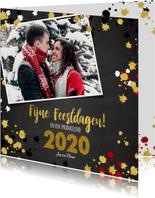 Kerst vrolijke kaart krijtbord met goud elementen en foto