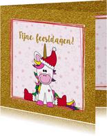 Kerst vrolijke kaart met een schattige unicorn met kerstmuts