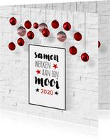 Kerst zakelijk interieur poster en kerstballen
