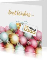 Kerstballen label pastel logo bedrijf