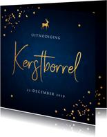 Kerstborrel uitnodiging donkerblauw confetti goudlook
