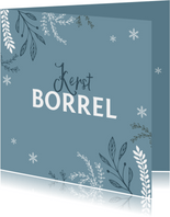 Kerstborrel uitnodiging stijlvol winter pastel blauw
