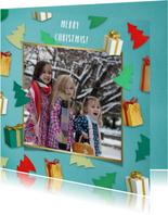 Kerstcadeautjes fotorand turquoise