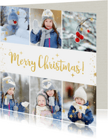 Kerstcollage met 6 foto's en goud