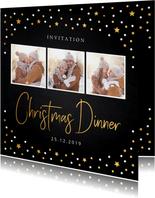 Kerstdiner uitnodiging foto confetti
