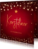 Kerstdiner uitnodiging rood confetti goudlook