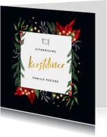 Kerstdiner uitnodiging stijlvol met winterse elementen