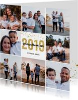 Kerstkaart 2019 Goud Glitter 2019 groot